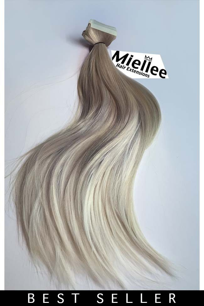 Medium Ash Blonde Balayage Seamless Tape Ins Silky Straight Remy