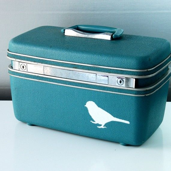 Vintage Upcycled Aqua Blue TRAIN CASE  hand painted by bluebernice, $66.00