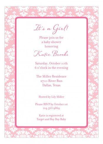 pink damask invitation pink damask shower invitations and damasks