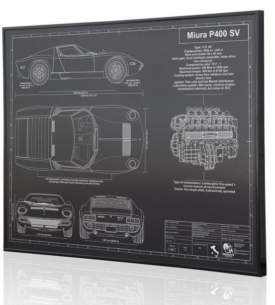 Lamborghini Miura P400 Sv By Engraved Blueprint Art Wall Decor