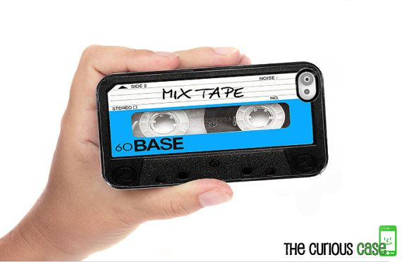 Case Mix Tape Cassette Tape Blue Black Hard by CuriousCaseGifts