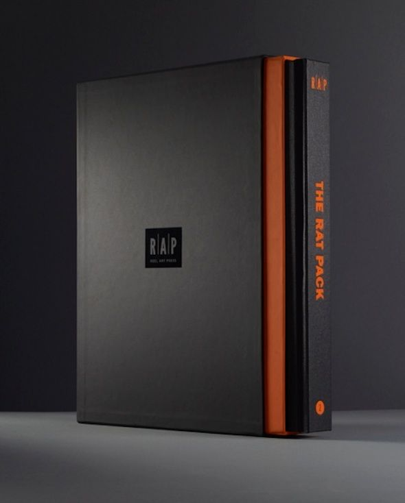 Another RAP book sleeve with curious papers applied to board and contrasting orange block colour.