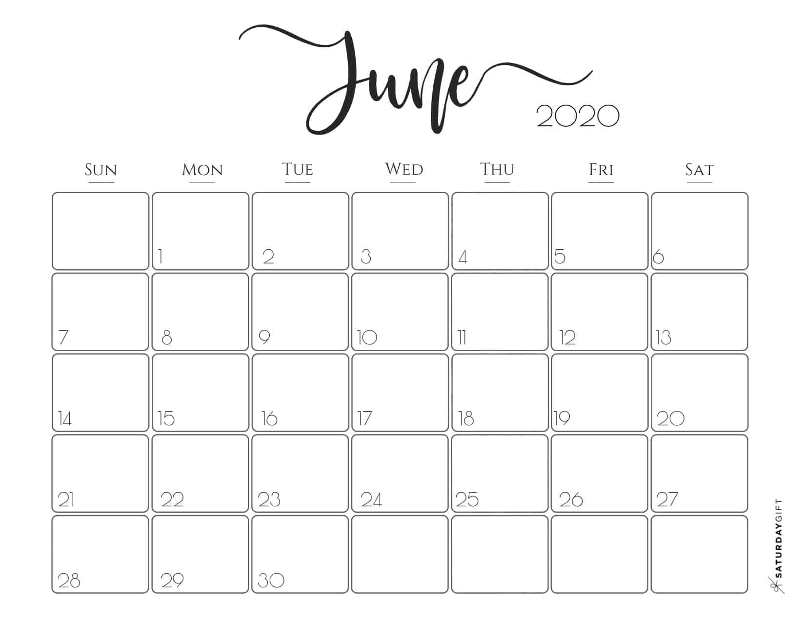 Cute Free Printable June 2020 Calendar In 2020 Free