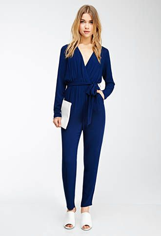 1b34c2daa5ccf Blue Navy Long Sleeve Surplice Jumpsuit | FOREVER21 - 2000054421 $30 |  Jumpsuits/Rompers | Jumpsuits for women, Jumpsuits for women formal y  Jumpsuit hijab