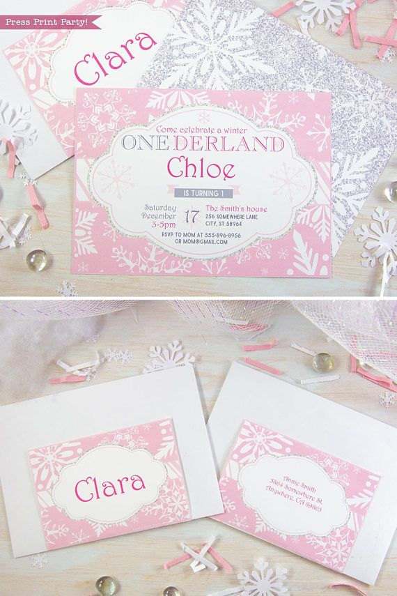 Winter ONEderland Invitation Printable, Pink and Silver ...