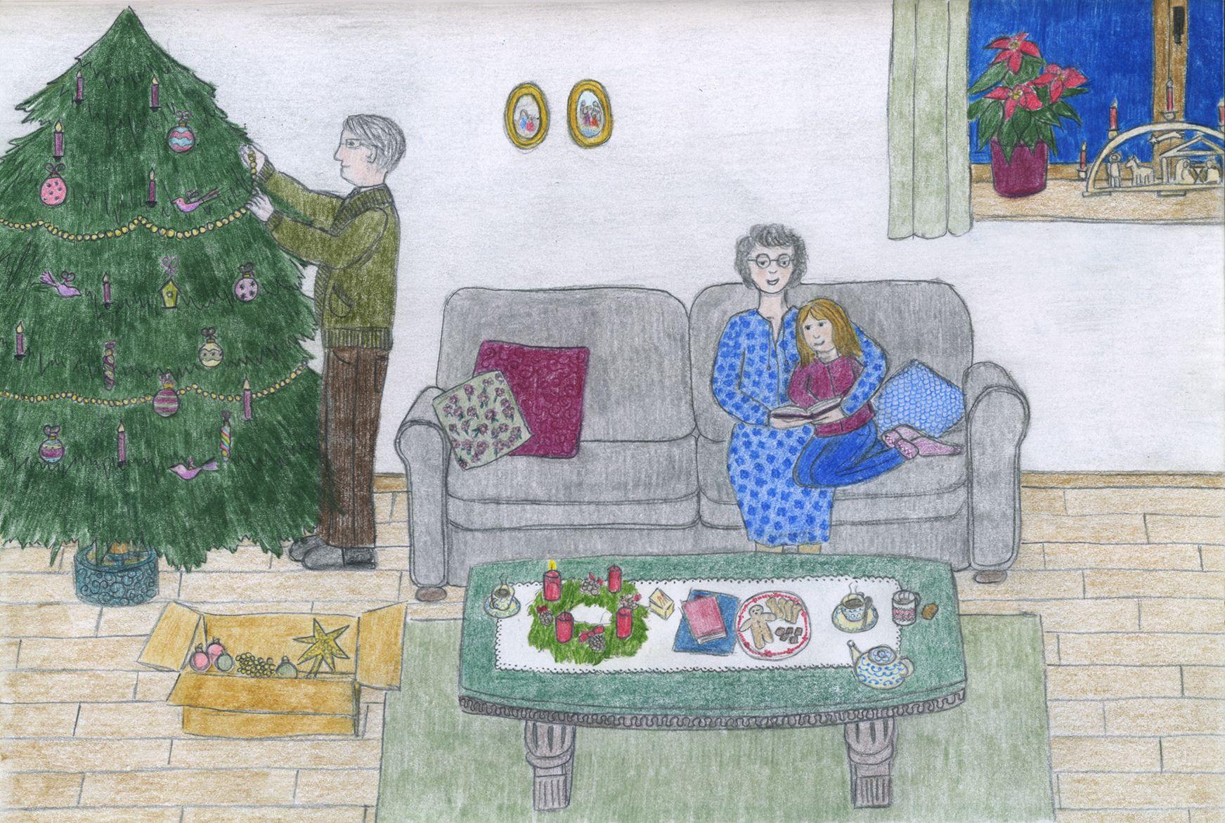 Il était une fois l'avent chez mes grands-parents… 🎄⛄️ / Es war einmal Advent bei meinen Großeltern… 🎁✨ #advent #cosiness #childrenillustration #sapindenoel #espritdenoel #grandsparents #adventszeit #gemütlichkeit #kinderbuchillustration