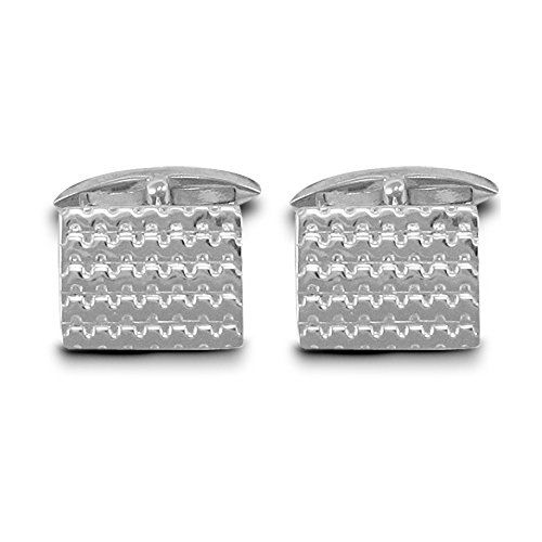 Jewelco London Sterling Silver wave design T-shape Cufflinks - Gents  Discount…