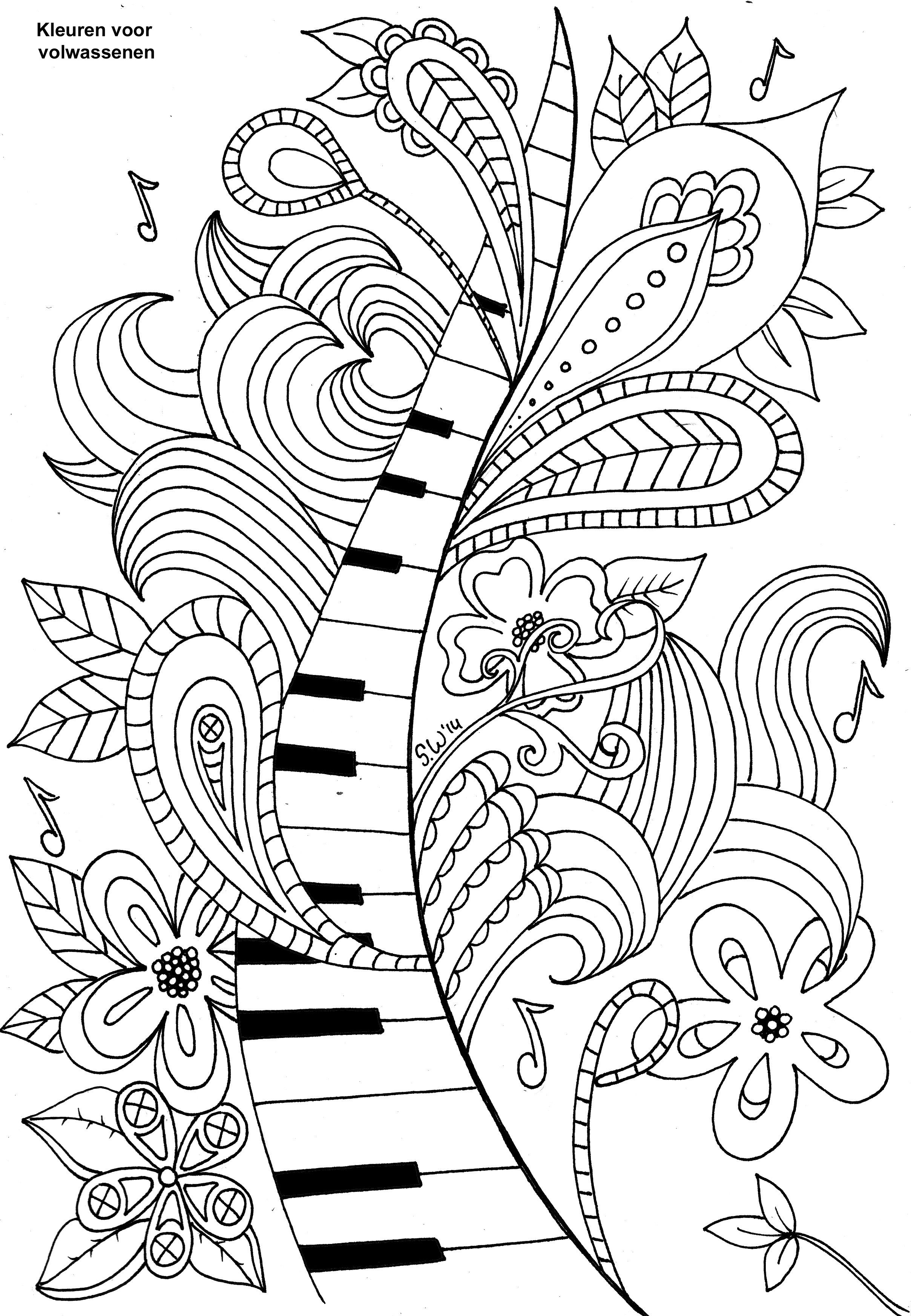 Coloring For Adults Kleuren Voor Volwassenen Music Coloring