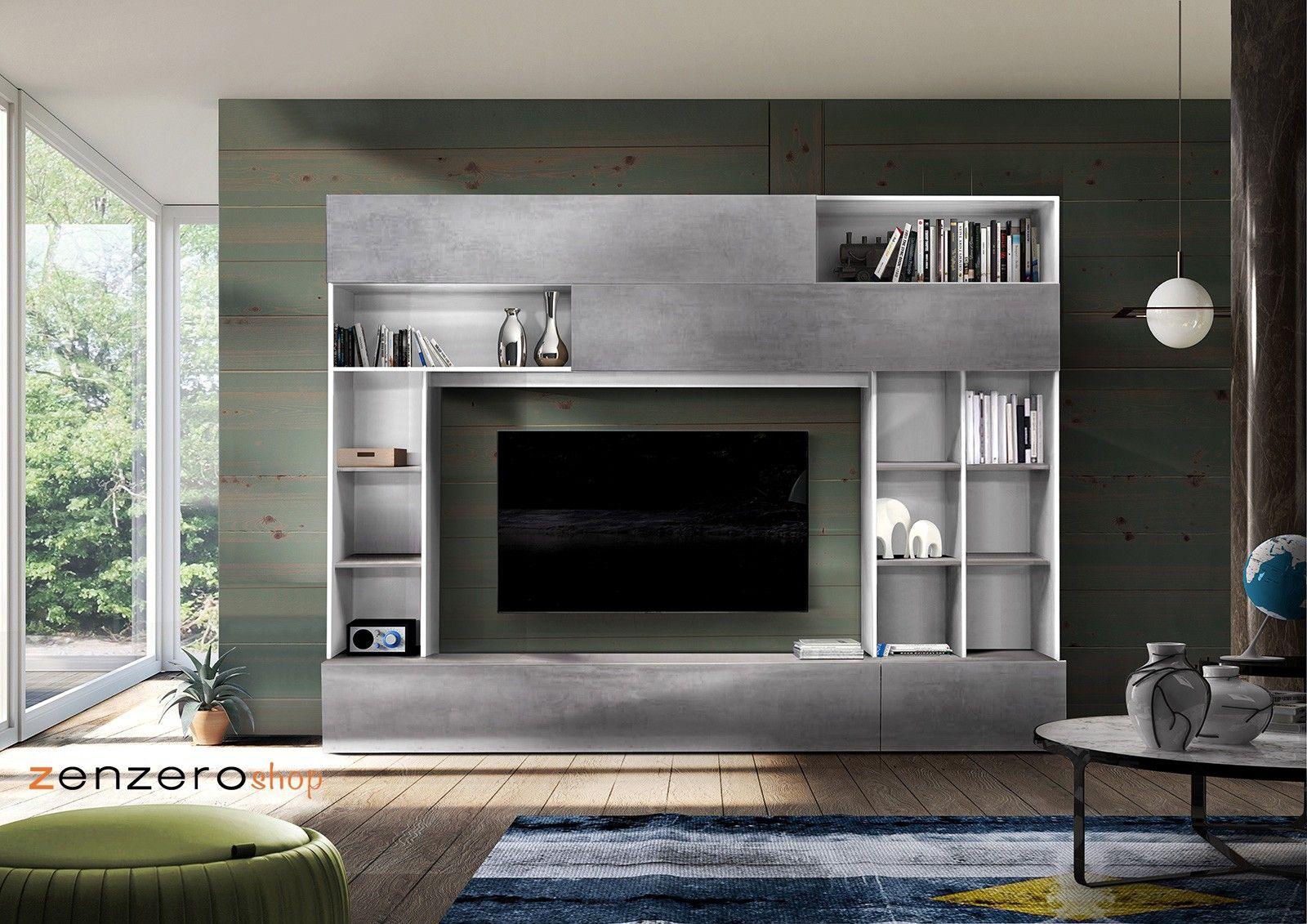 Foto Parete Attrezzata Moderne.Parete Attrezzata Moderna E Di Design In Finitura Beton E