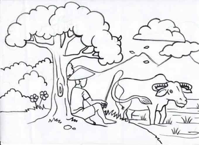 33 Pemandangan Kartun Hitam Putih Gambar Jalan Sawah Sawah Dan