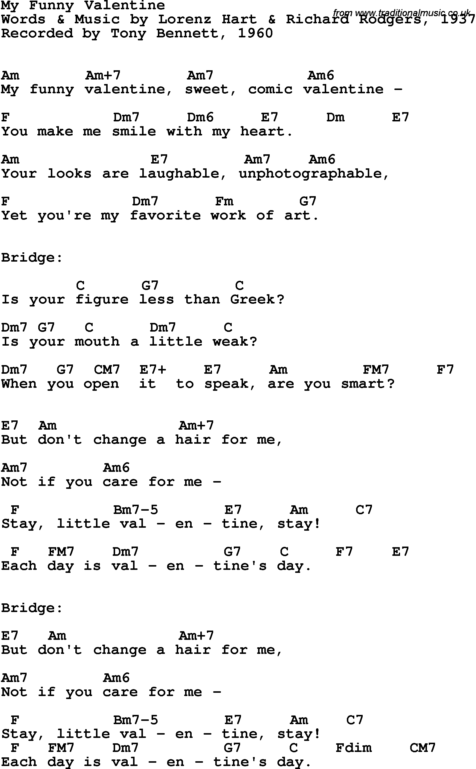 Song Lyrics With Guitar Chords For My Funny Valentine Frank Sinatra 1954 My Funny Valentine Lyrics Funny Valentine Lyrics My Funny Valentine