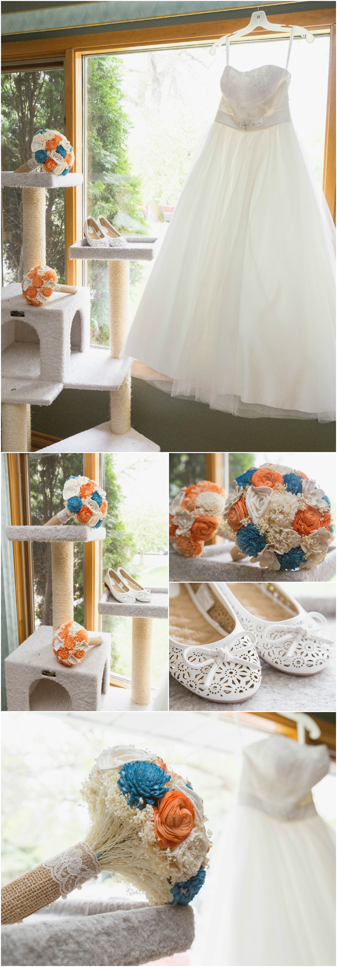 Jayda + Cole's Video Game Wedding | Woods Photography. Photos of the bride's wedding dress, white slip on shoes, as well as white, orange and teal wedding bouquet made out of wood with scratching post for cat lovers. Taken in Medicine Hat, AB (CANADA). #wood #catlovers #CuriousFloral