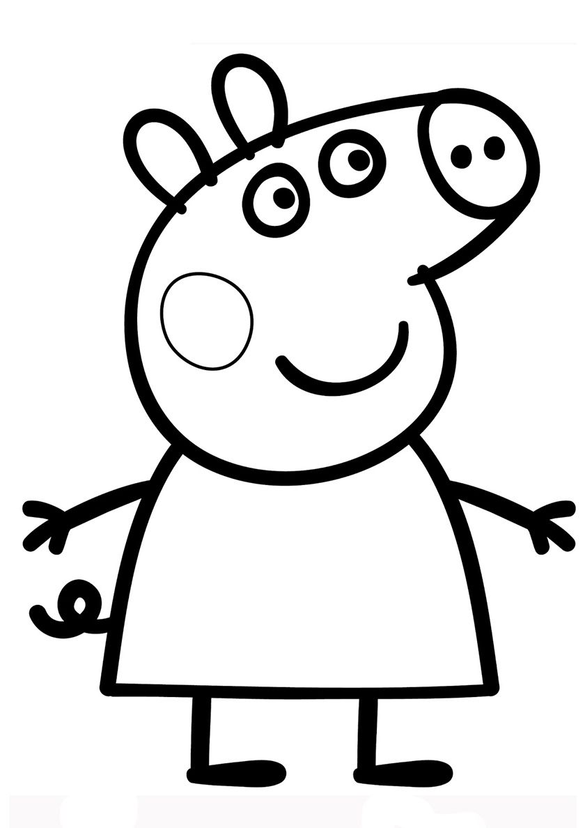 Cheerful Peppa Pig - high-quality free coloring from the category