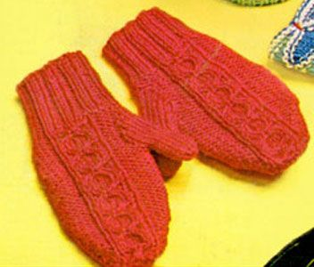 Two Needle Knitting Patterns : Two-Needle Split Cable Mittens Pattern Free Knit Patterns Pinterest Coa...