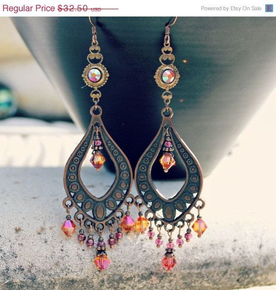 Valentines Day Sale  Bohemian Chandelier Earrings  by LunarBelle a beautiful style of jewellery exotic and romantic at once!