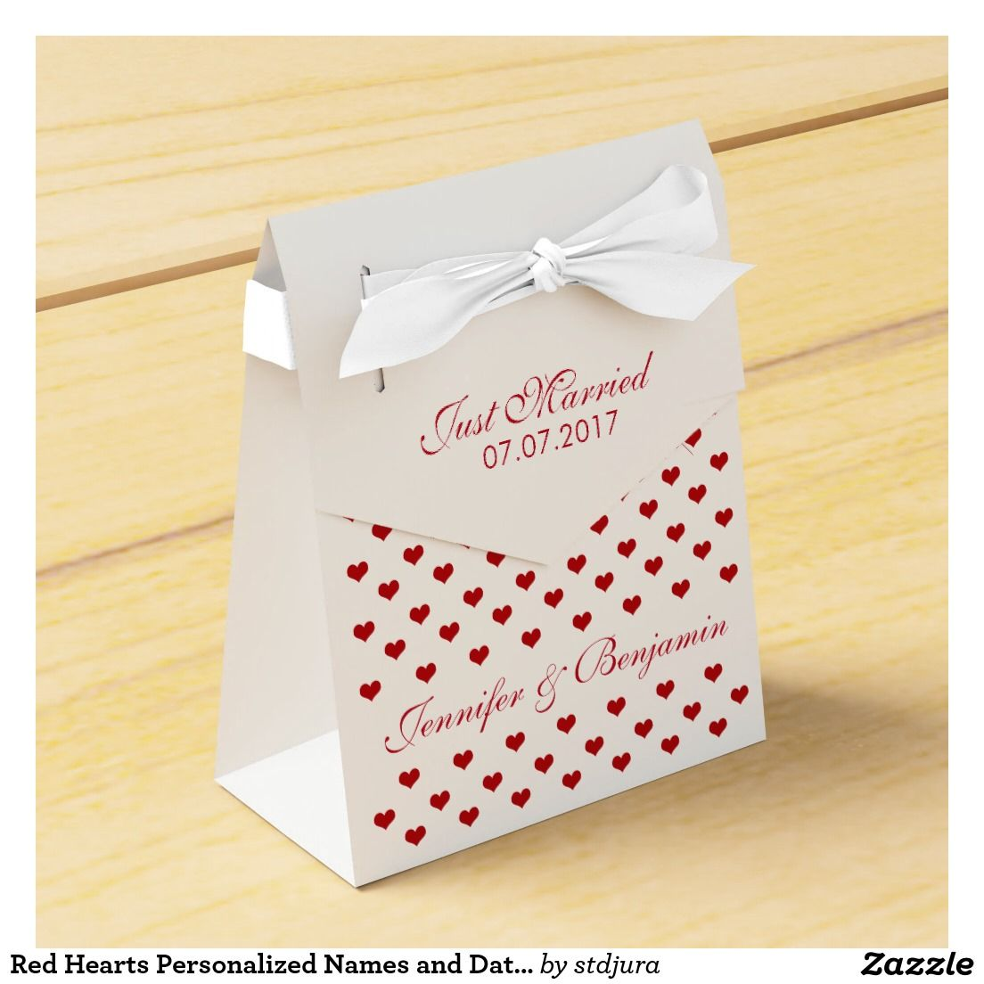 Red Hearts Personalized Names and Date Wedding Favor Box #Red ...