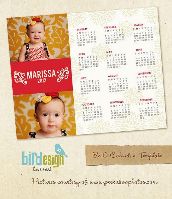 INSTANT DOWNLOAD - 8x10 Calendar template 2013- Marissa - E189