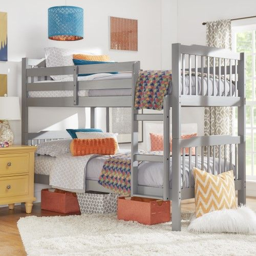 Chelsea Lane Elise Bunk Bed Multiple Finishes Frost Gray