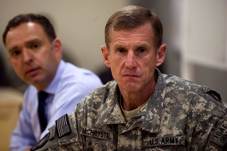 "KABUL, AFGHANISTAN - MARCH 8:  US and NATO forces in Afghanistan Commander Gen, Stanley McChrystal (R)  Pleas to Save PBS says,"" It Makes Us Smarter, Stronger and Yes, Safer! Please Listen to Him!"