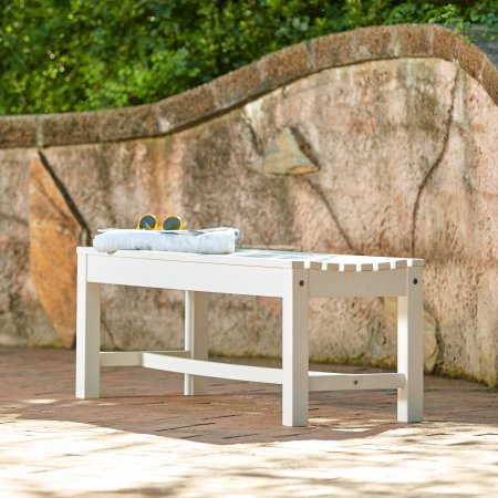 Enjoyable Shine Company 4 Ft Outdoor Backless Plastic Bench White Creativecarmelina Interior Chair Design Creativecarmelinacom