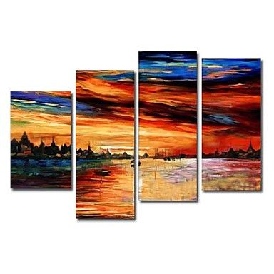 Hand-painted Oil Painting Landscape Oversized Wide Set of 4
