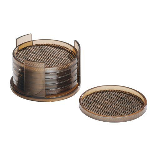 InterDesign Twillo Round Coasters, Set of 6, Bronze/Sand by InterDesign. $10.69. Space-saving design. Bronze finish. Luxurious woven wire construction. Set of 6. Looks great on a coffee table. Woven wire in bronze or metallico makes the Twillo collection unique and stylish. Steel wire holds these space-saving pieces to give your home added appeal. A coaster is a necessity to keep coffee tables from looking like the lunar surface, this set of 6 will ensure you aren't dealing with...