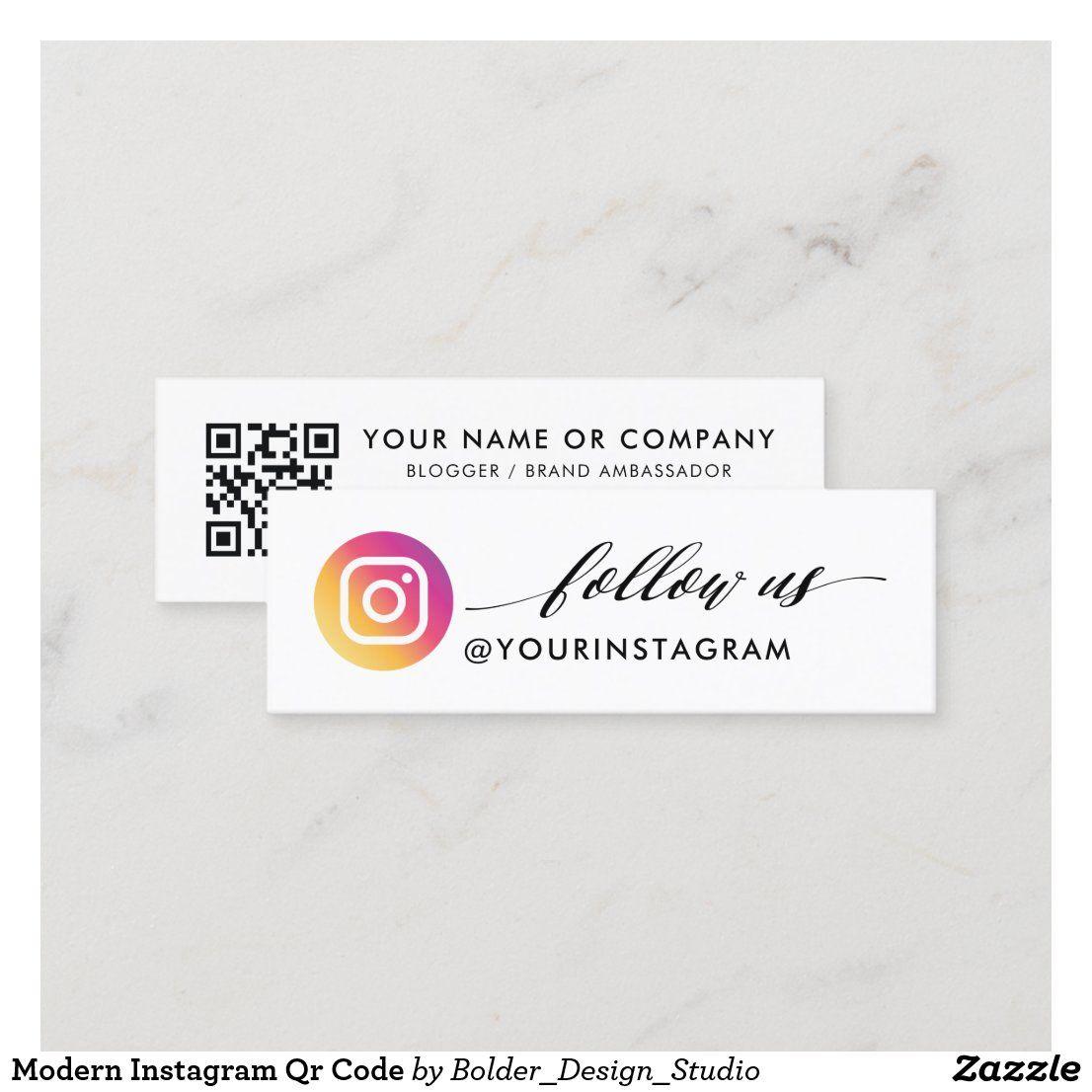 Modern Instagram Qr Code Mini Business Card Zazzle Ca Mini Business Card Media Business Cards Social Media Business Cards