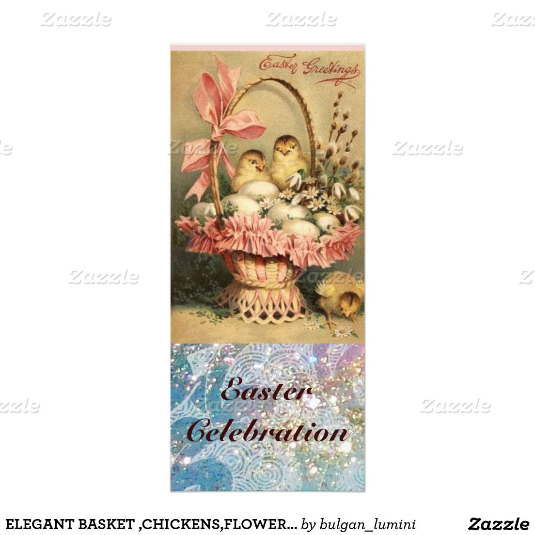 ELEGANT BASKET ,CHICKENS,FLOWERS AND EASTER EGGS 4X9.25 PAPER INVITATION CARD