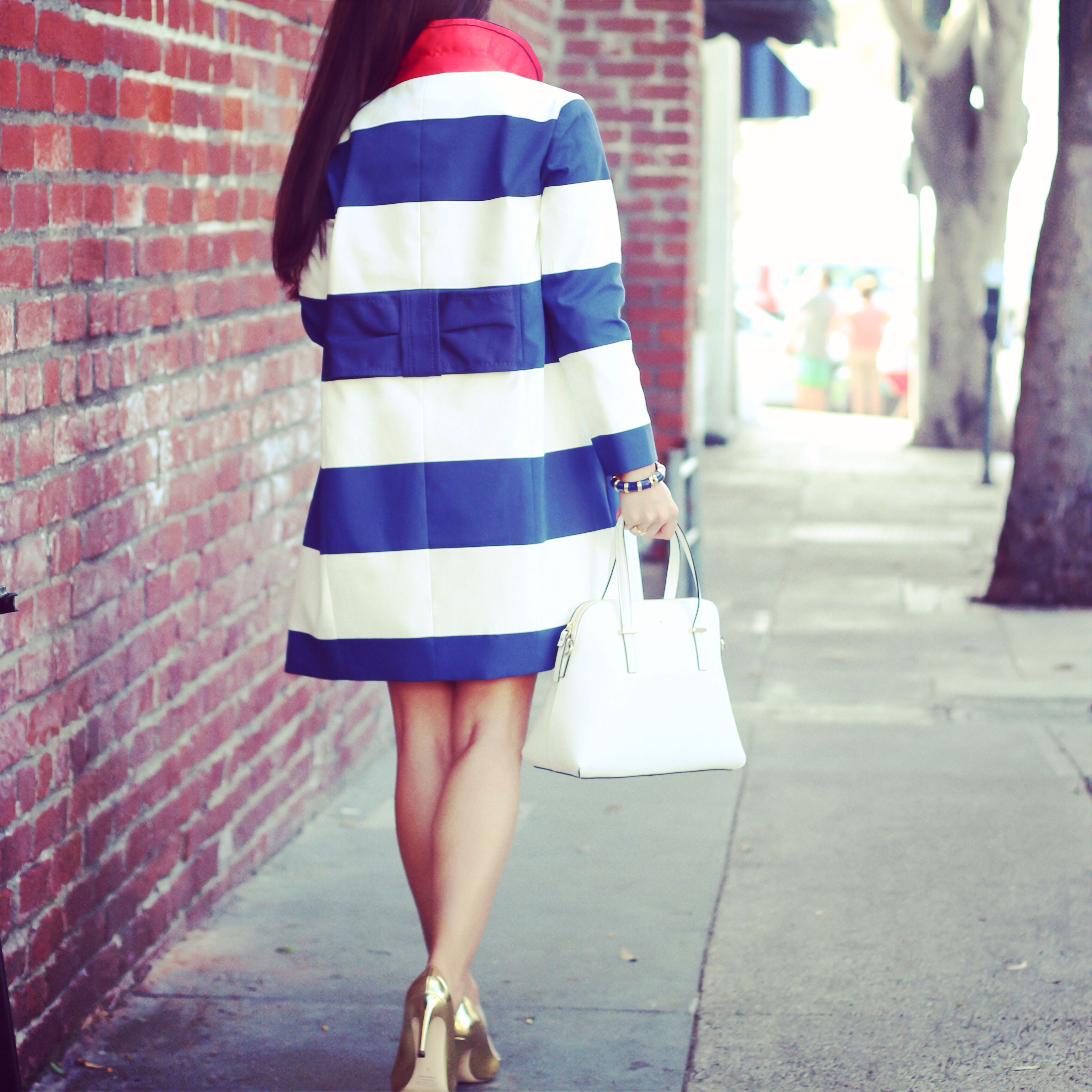Stripes and bows- Kate Spade Franny coat with bow back