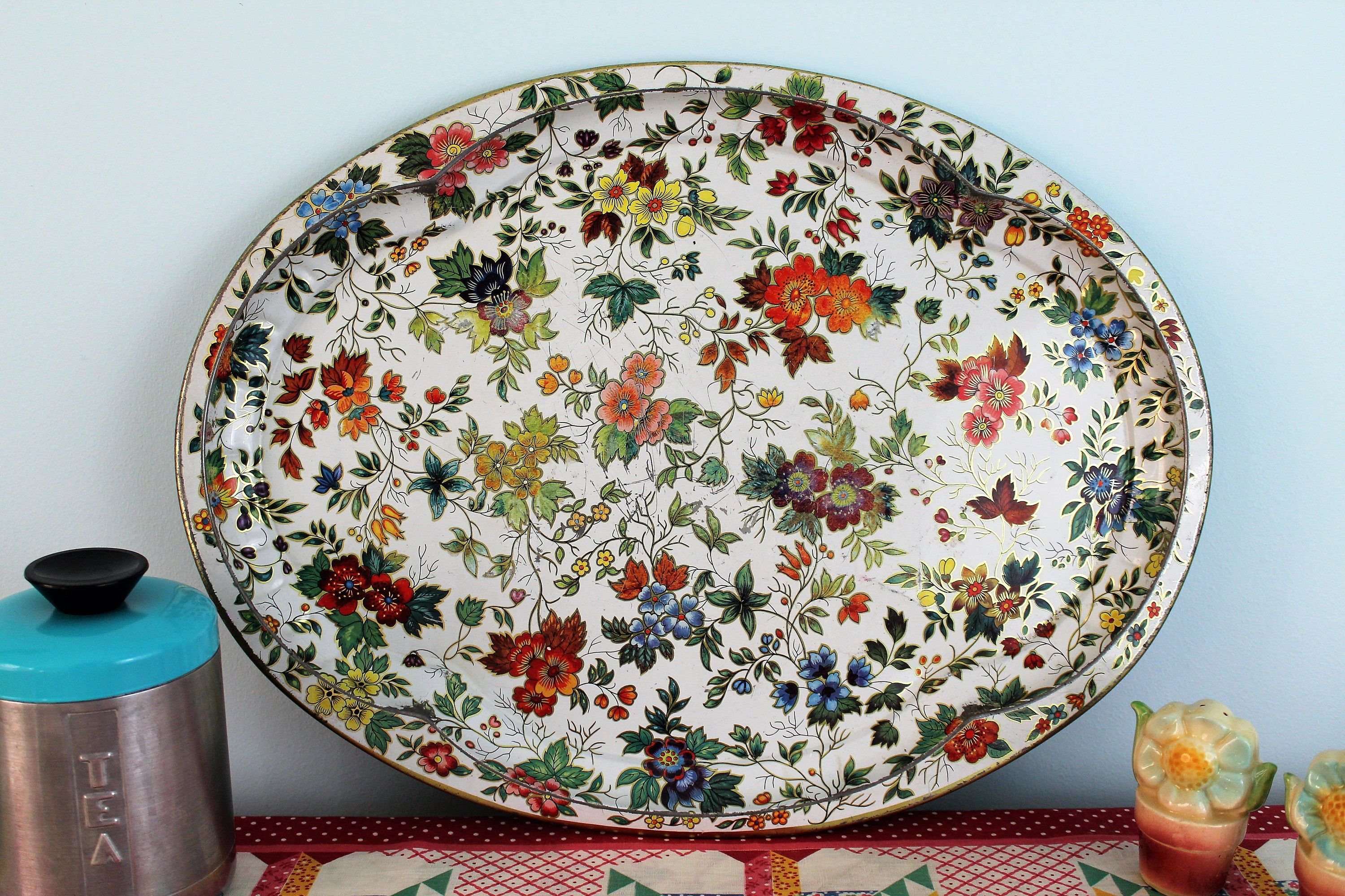 Daher Decorated Ware Tray Made In England Classy Large Vintage Oval Tray With Chintz Floral Patterndaher 2018