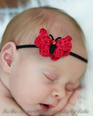 9f3e74b90a3 Red and Black Crochet Butterfly headband. Crochet Baby ...