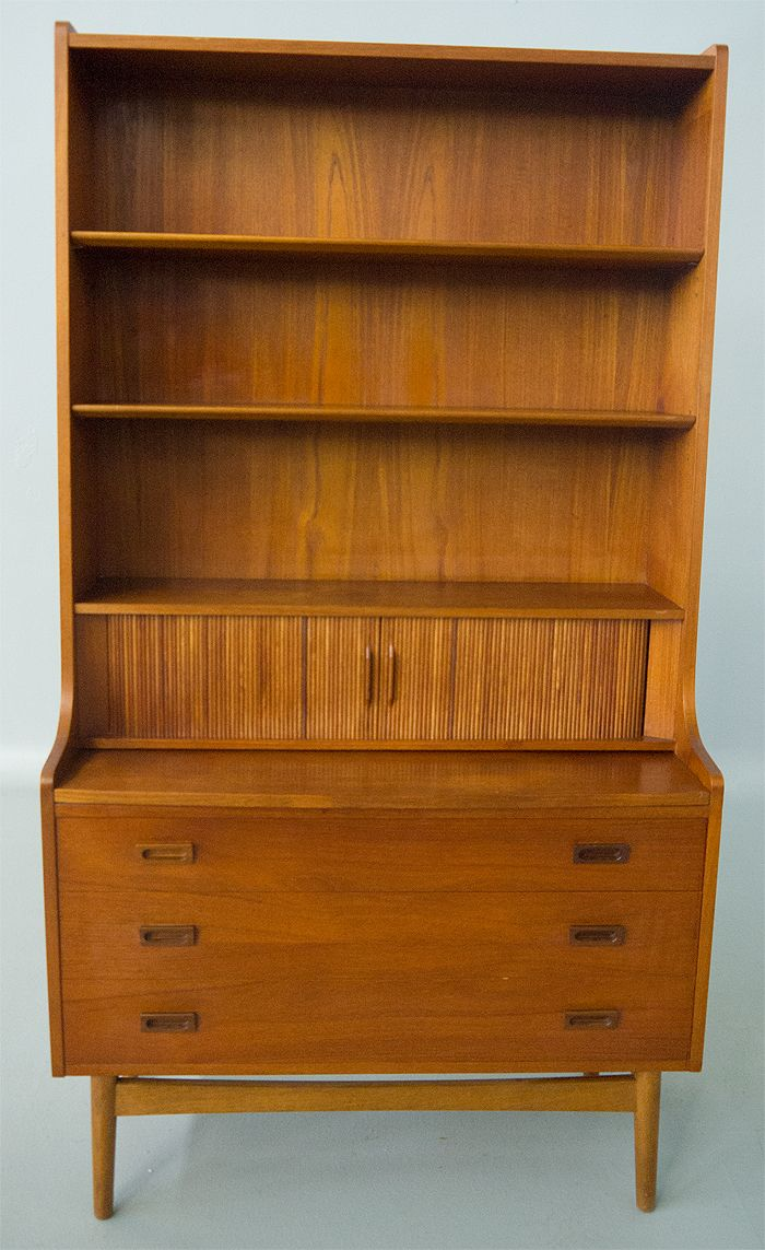 Tall Danish Modern Teak Secretary Desk Tambour Doors