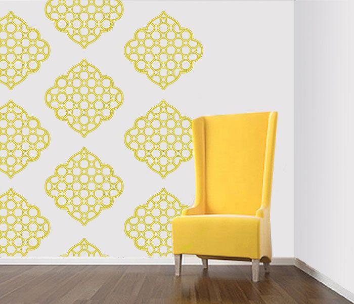 Wall Sticker - Brocade, Damask, Graphic Pattern - Wallpaper Design ...
