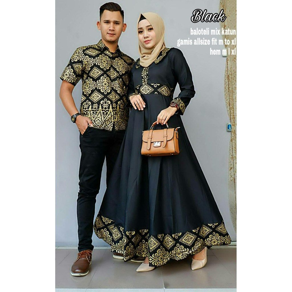 Batik Couple Gamis Mutiara Hitam – BATIKCOUPLE.ID  Model pakaian