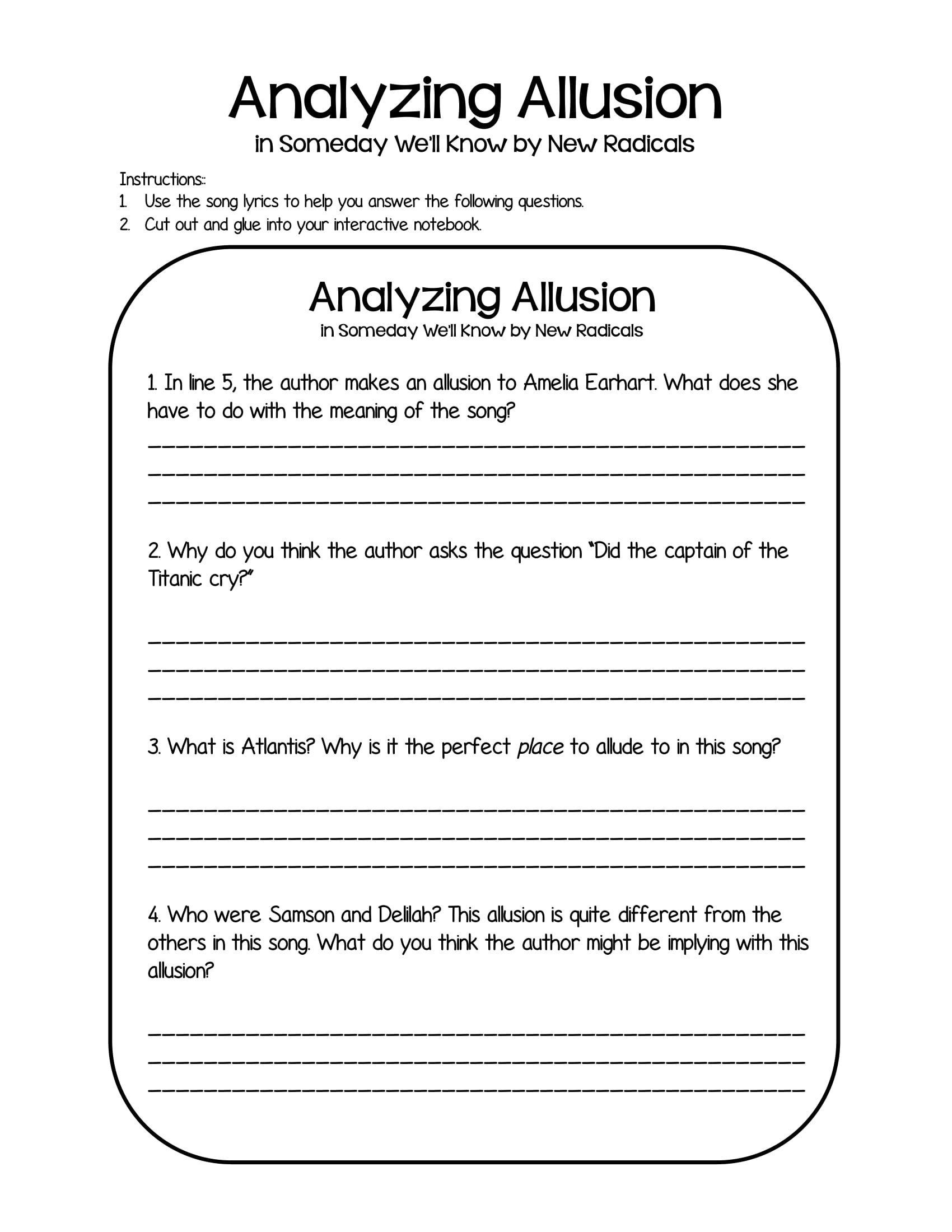 Allusion Worksheet For Middle School 20 Allusion Examples Pdf In 2020 Allusion Allusion In Literature Teaching