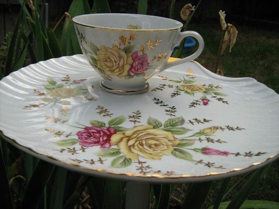 Vintage Rose Luncheon Plate Staked Tea Cup by PatchWorkDragonShop $17.00 & Vintage Rose Luncheon Plate \
