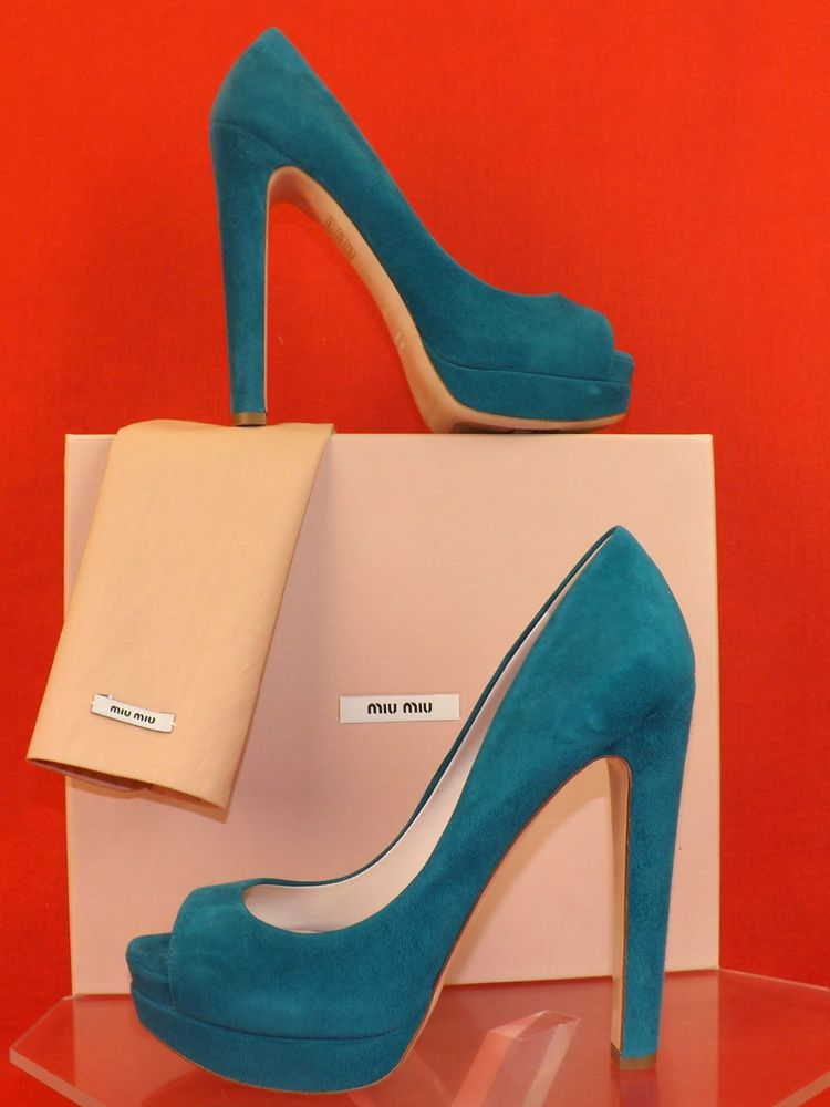 Platform Double Turquoise Suede Pumps Classic Miu Peep Toe Prada wqYRxnvXO
