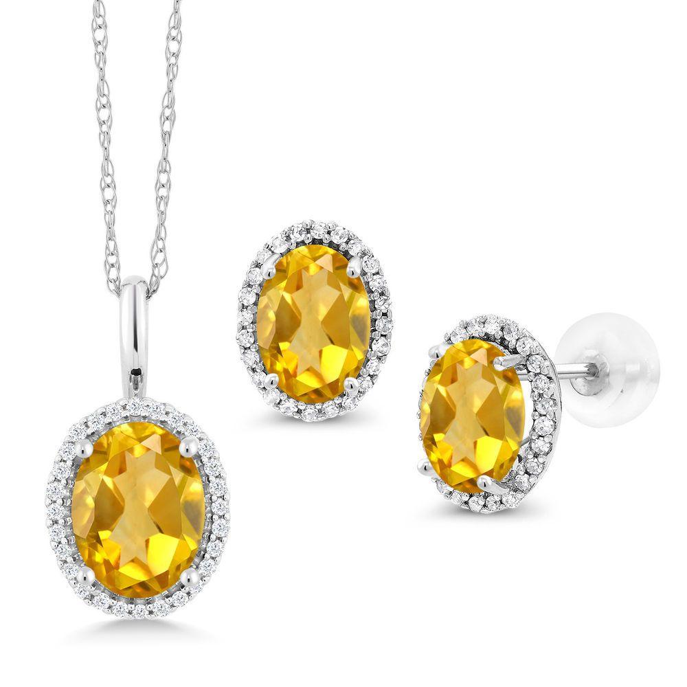 ct oval yellow citrine k white gold pendant earrings set