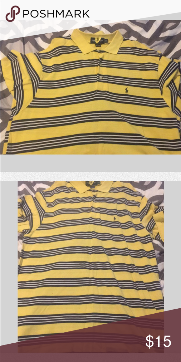 2f80c695 Polo Shirt Yellow Polo shirt with navy blue and white stripes in XXL Polo  by Ralph Lauren Shirts Polos
