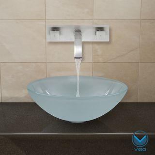 Vigo White Frost Vessel Sink Brushed Nickel Wall Mount Faucet