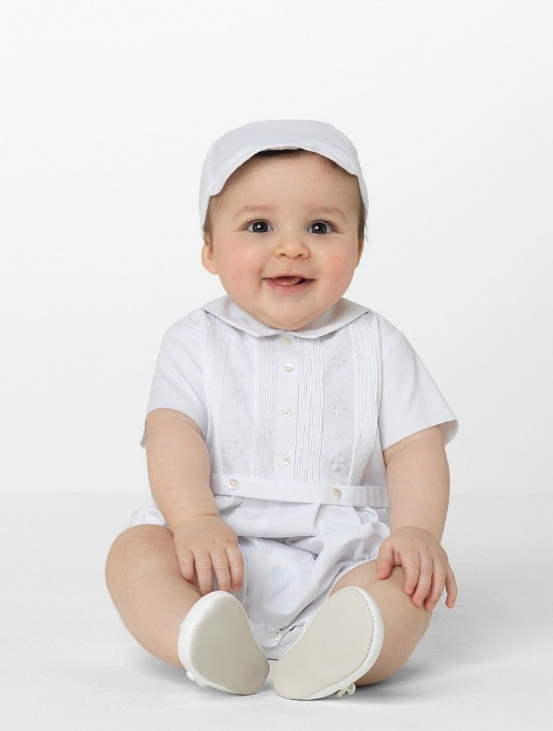 76f99c217f7e Sarah Louise boys white romper