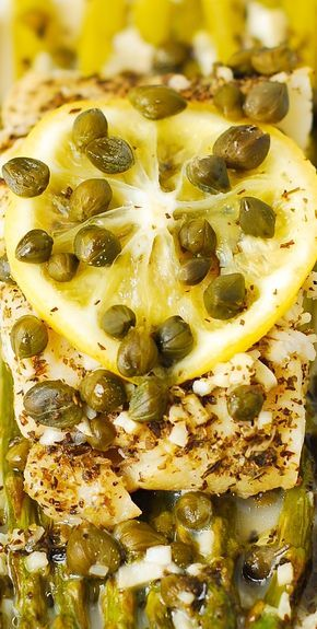 Pacific Cod And Asparagus With Garlic Lemon Caper Sauce