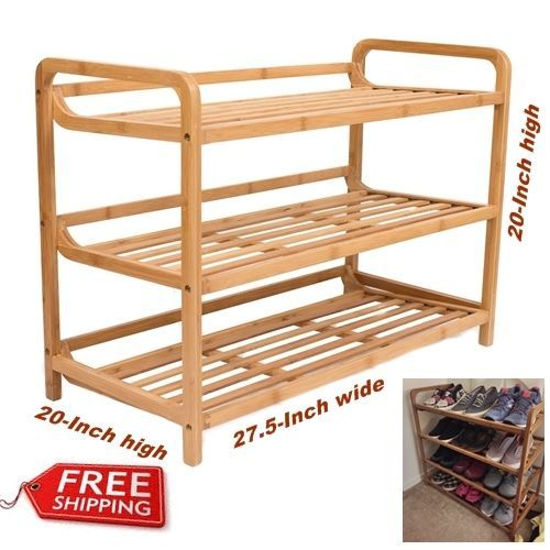 Storage 3 Tier Bamboo Shoe Rack Organizer Wooden Stand Holder Home Decor  Bedroom #BirdRockHome