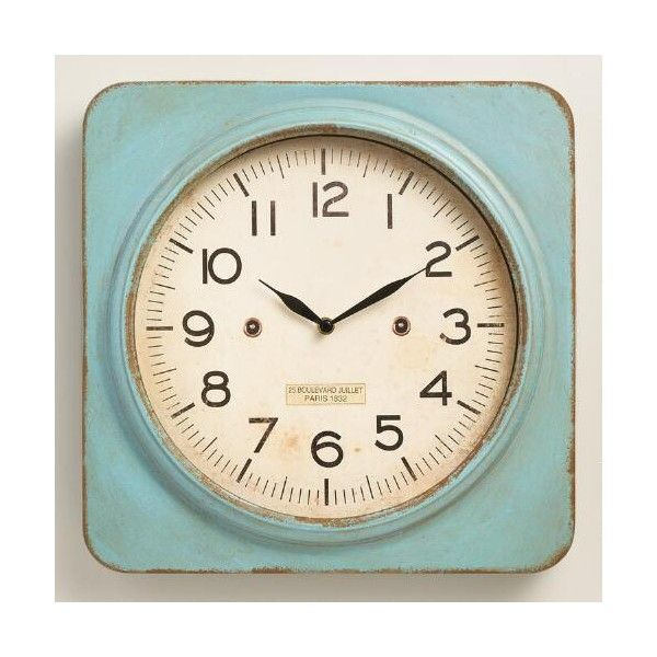 Cost Plus World Market Aqua Metal Square Wall Clock 40 Liked On Polyvore Featuring Home Home Decor Clocks Square Wall Clock Wall Clock Metal Wall Clock