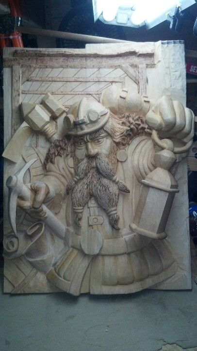 Master miner woodcarvings by madcarver schnitzen