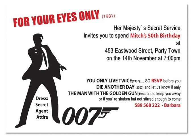 james bond theme party Google Search – 007 Party Invitations