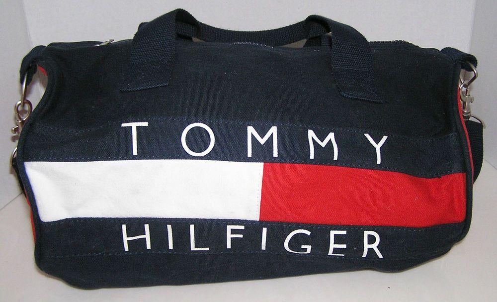 """Tommy Hilfiger Bg Logo Vintage Travel Bag Duffle Gym Bag 14"""" x 7"""" Shoulder Strap #TommyHilfiger"""