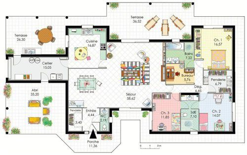 plan maison plain pied style basque