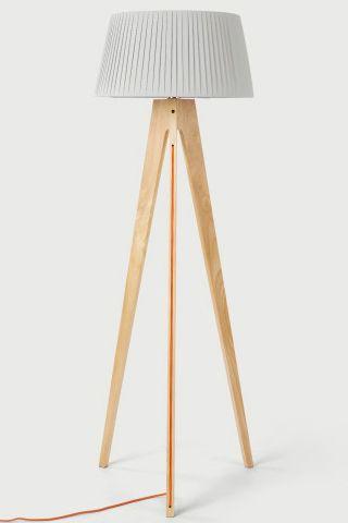 miller stehlampe holz mit orangem kabel. Black Bedroom Furniture Sets. Home Design Ideas