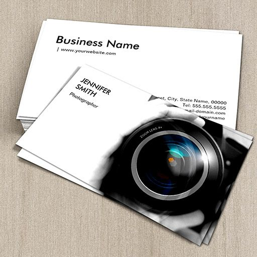 Simply Black And White Photographer Camera Lens Business Card Photography Business Cards Template Photographer Business Cards Photography Business Cards